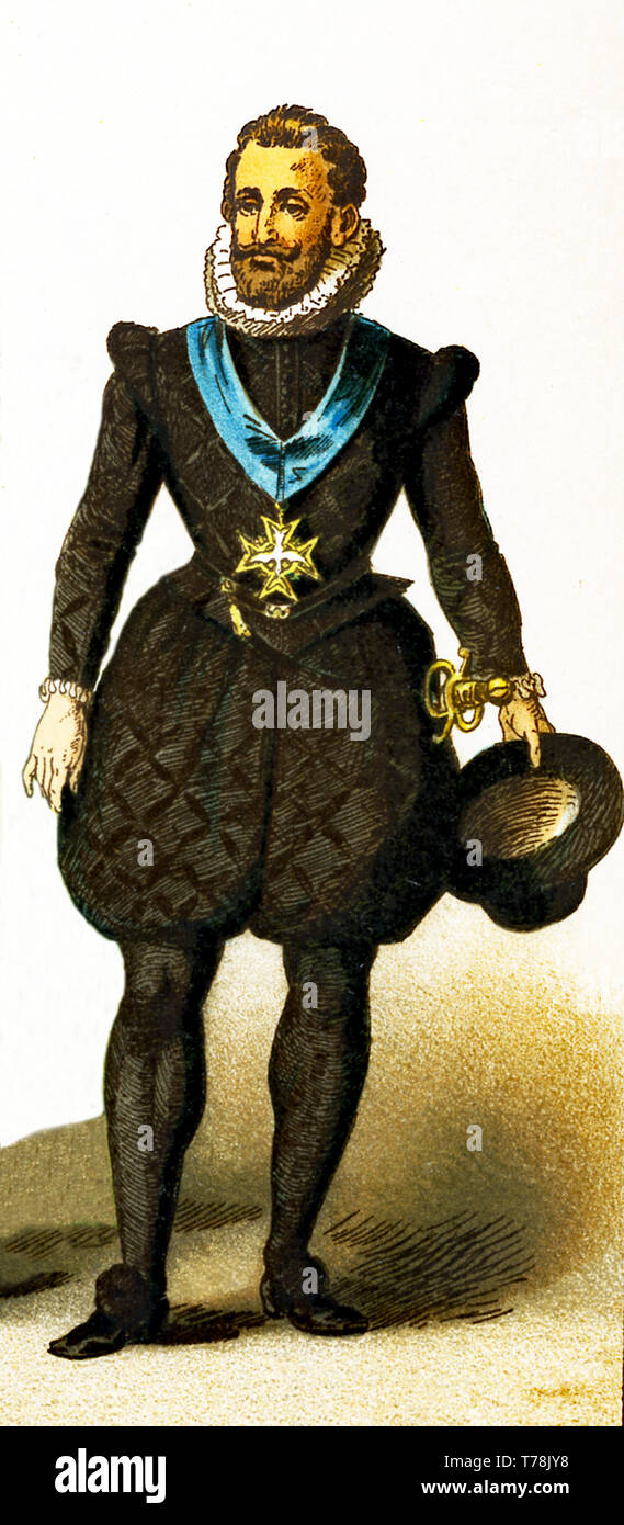 The figure represented here is Henry IV of France in about 1600. The illustration dates to 1882. - Stock Image