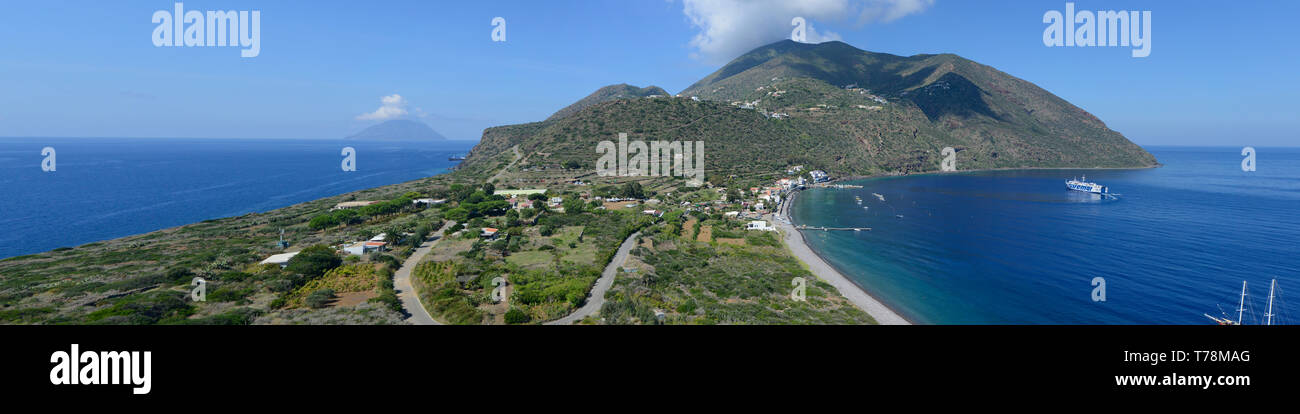 Panoramic view on the Filicudi Island, Aeolian, Sicily, Italy Stock Photo