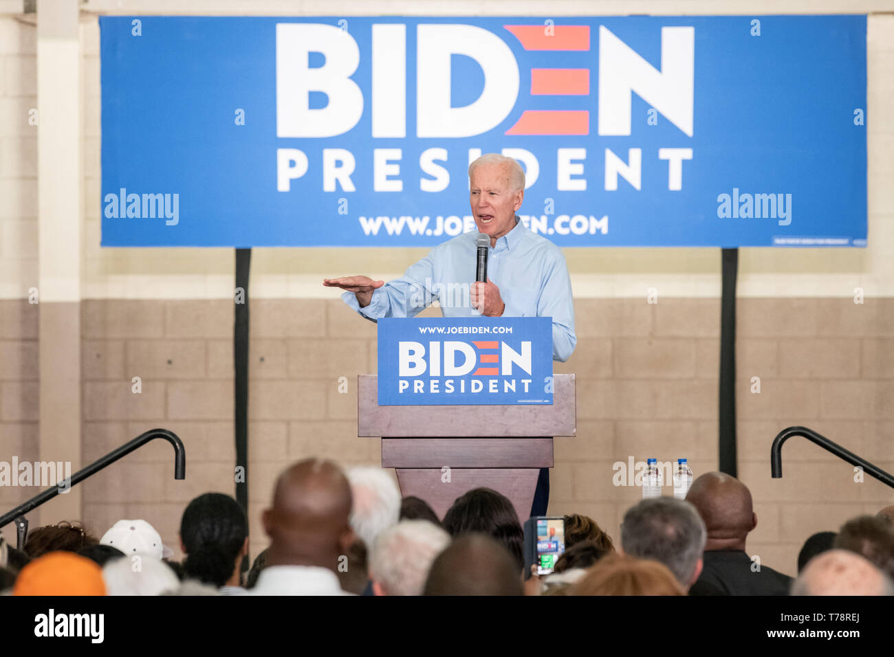 Columbia, South Carolina USA - May 4, 2019: 2020 presidential hopeful Joe Biden (D) speaks to potential supporters at a campaign stop in Columbia. Stock Photo