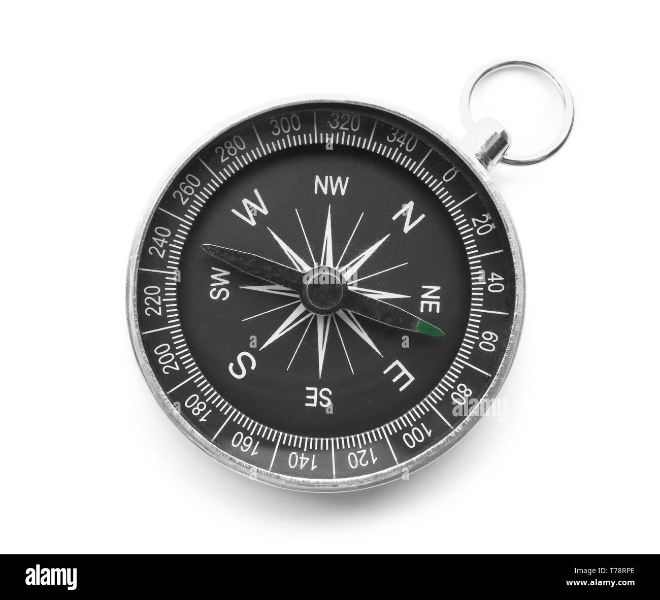 Modern compass on white background - Stock Image