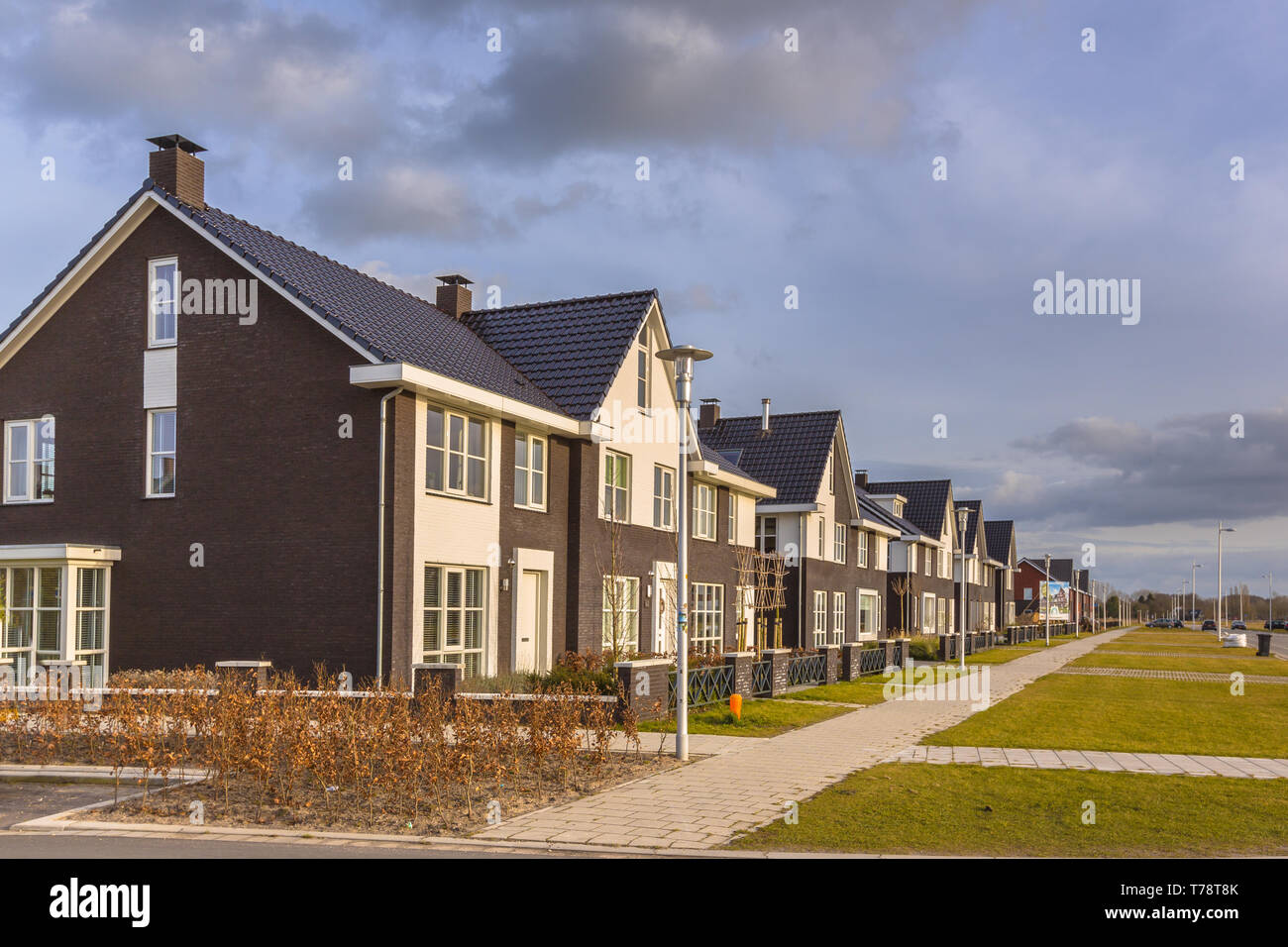 Modern design row houses in a newly developed  family residential area. Stock Photo