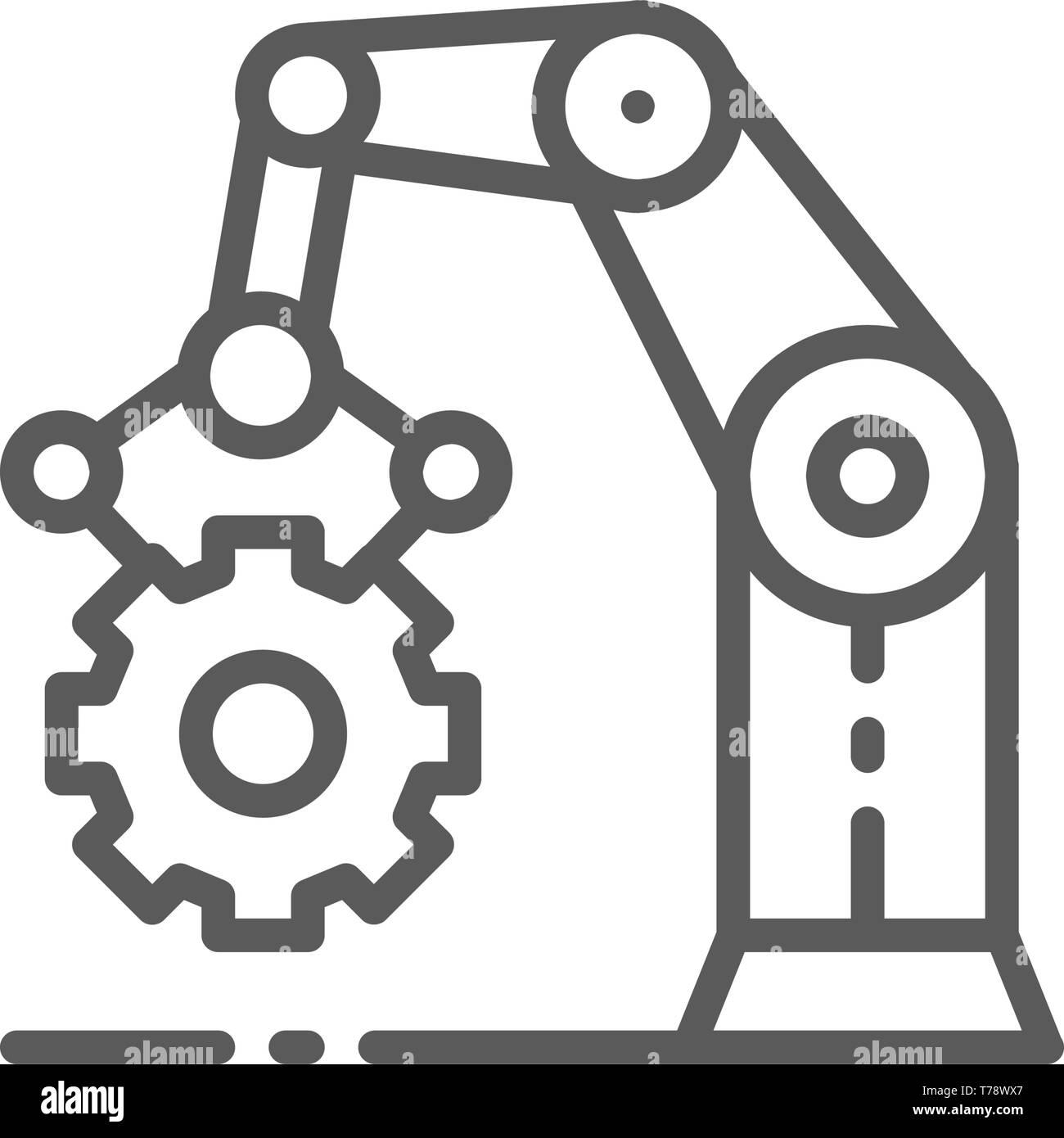 Robotic manipulator arm with cogwheel, working mechanism, production line icon. - Stock Image