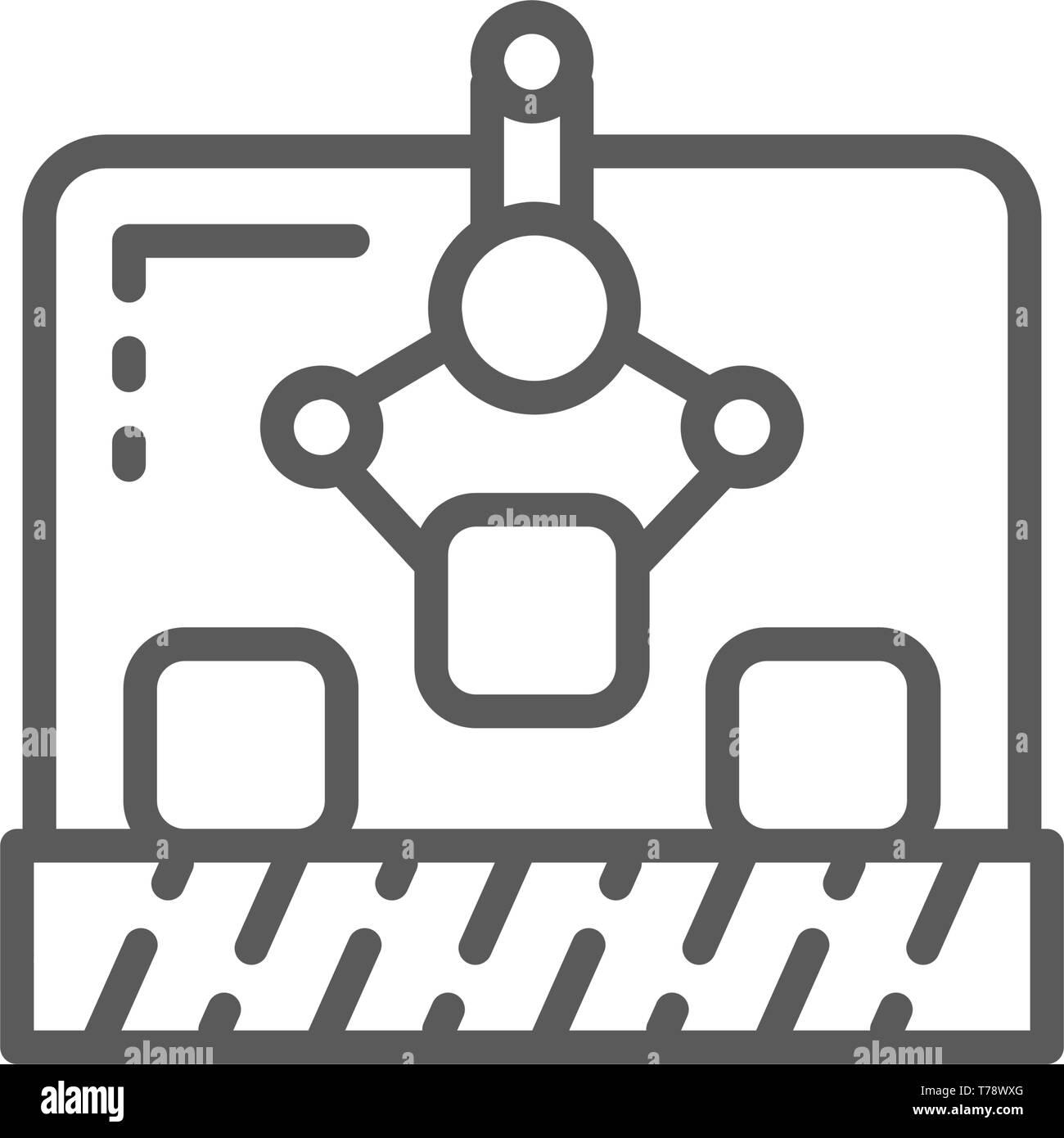 Robotic manipulator on conveyor, production line icon. - Stock Image