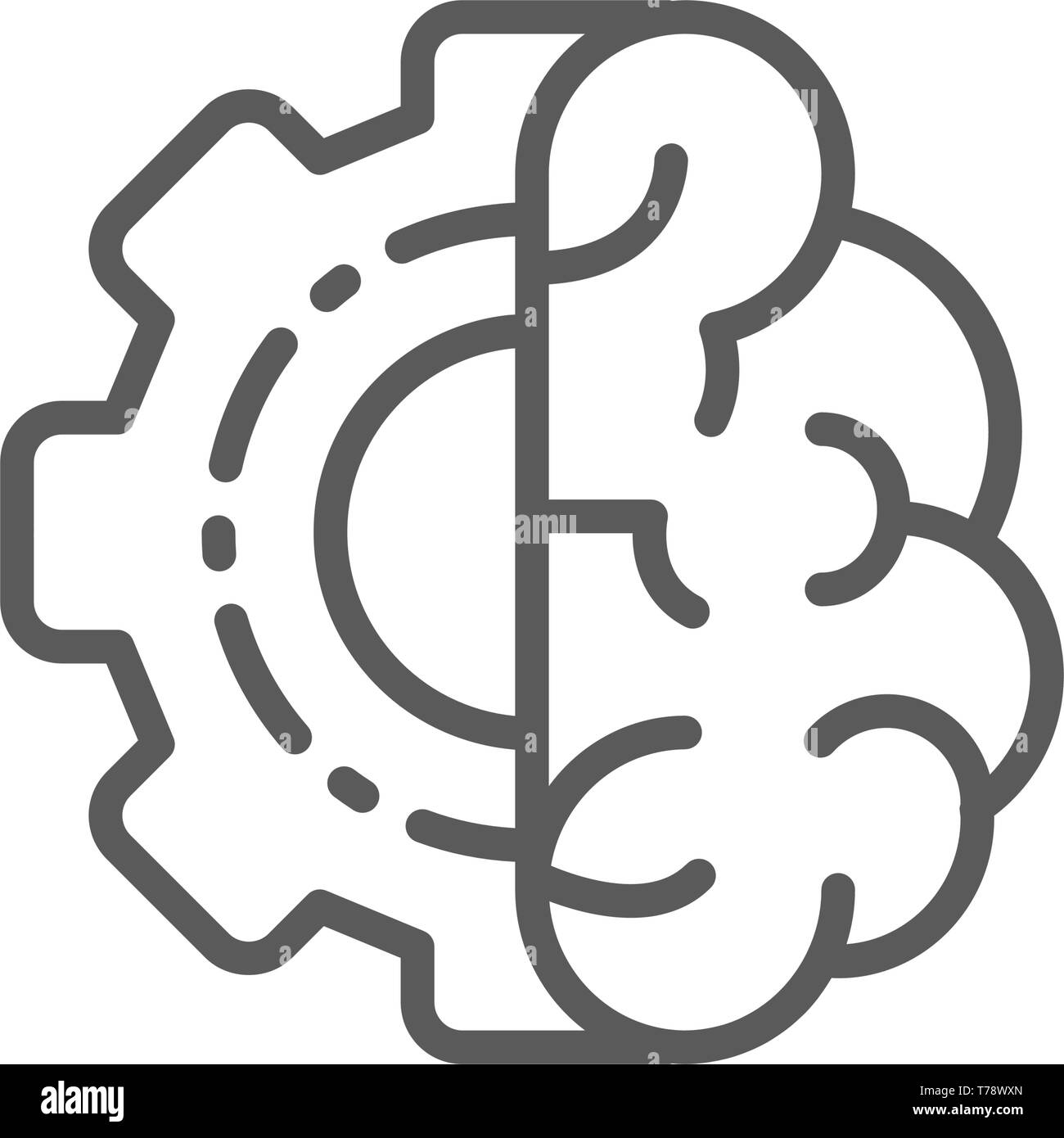Brain with gear wheel, engineer mind, intellect line icon. - Stock Image