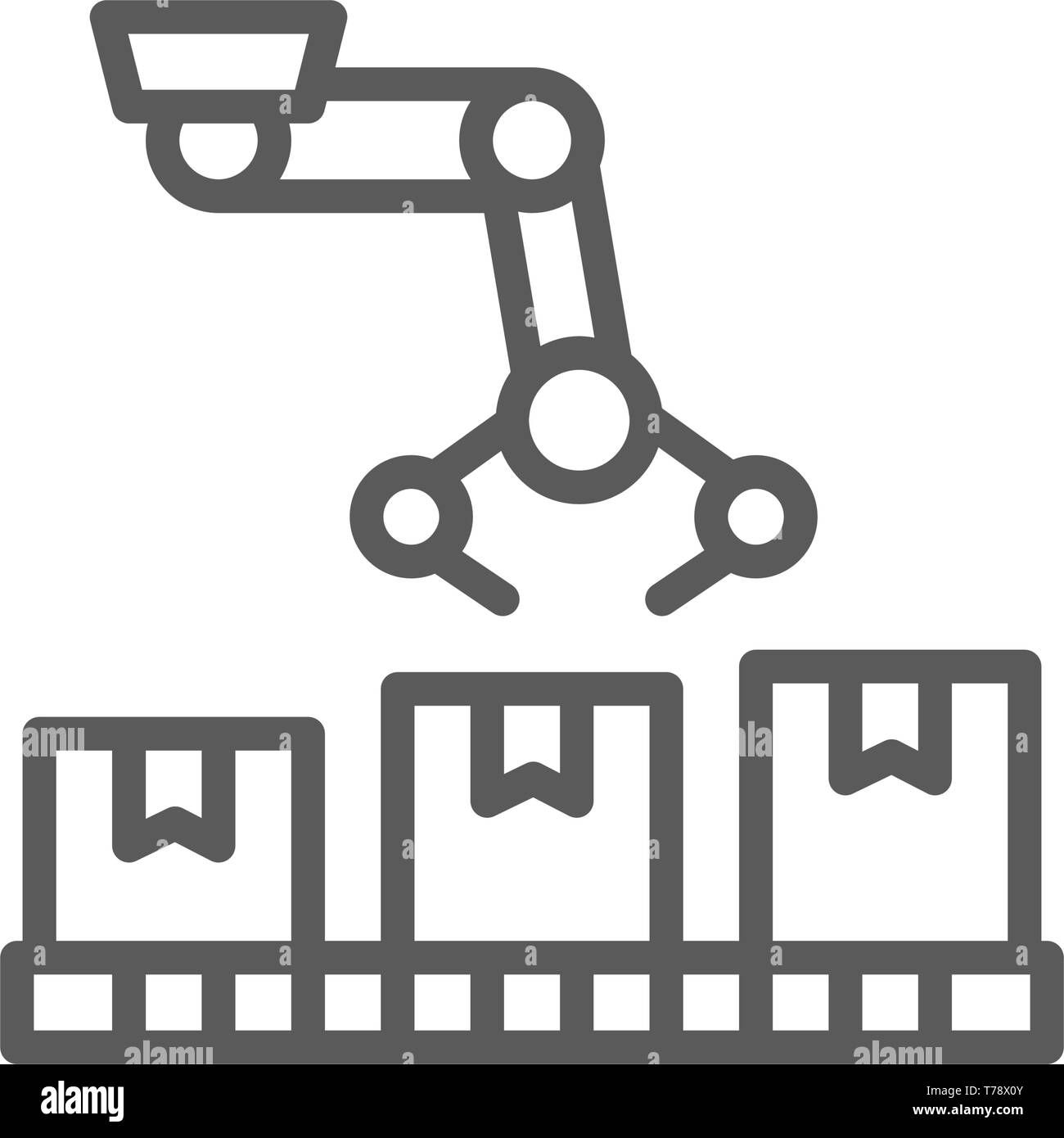 Robotic arm on packing conveyor, production line icon. - Stock Image