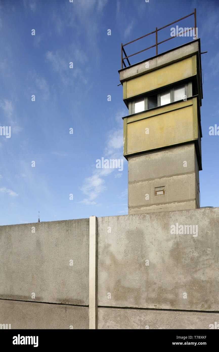 Preserved guard tower at the Berlin Wall Memorial, Bernauer Strasse, Berlin, Germany. - Stock Image