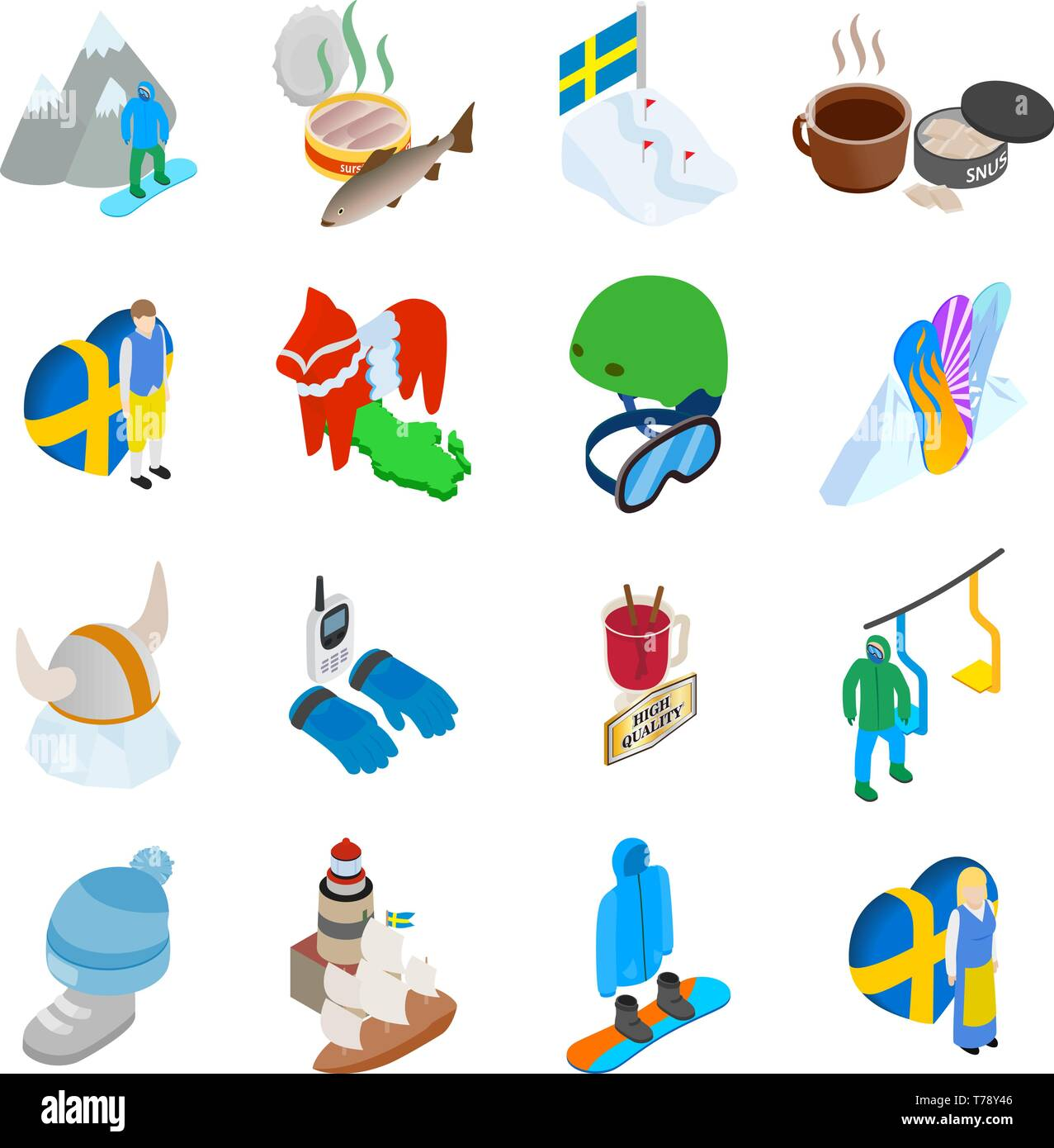 Mountain rest icons set, isometric style - Stock Vector