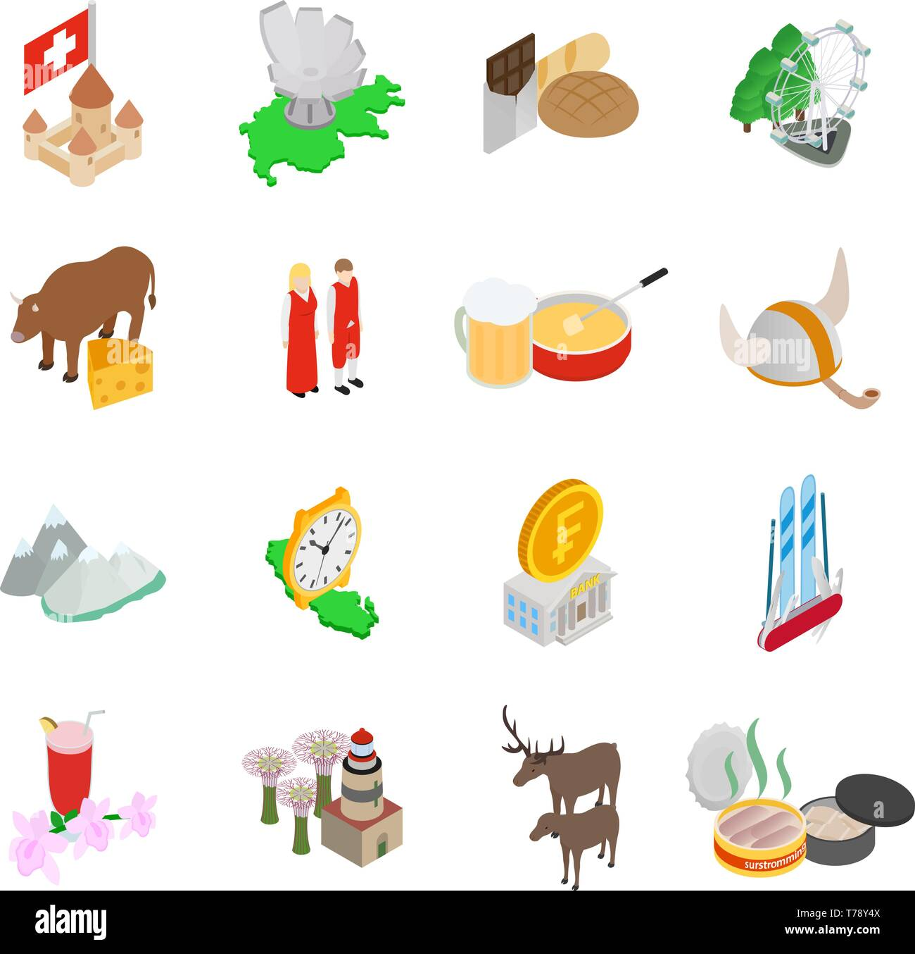Baltic area icons set, isometric style - Stock Vector