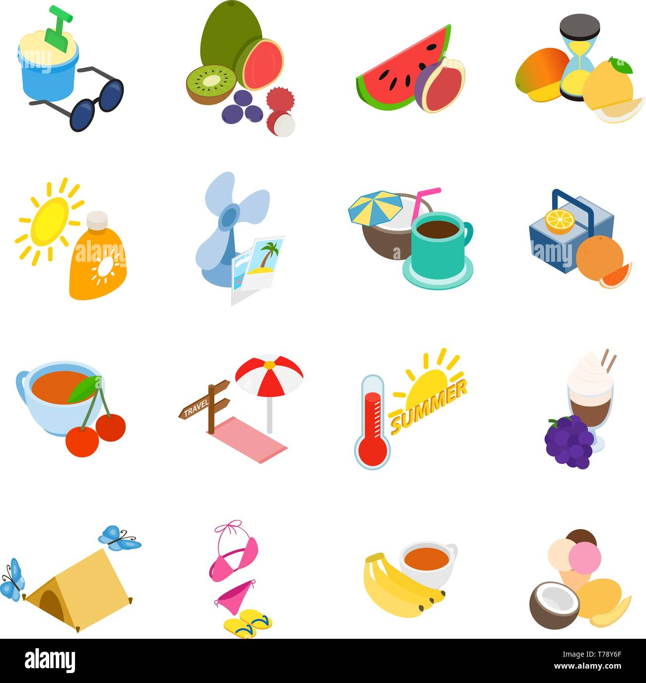 Summer time icons set, isometric style - Stock Vector