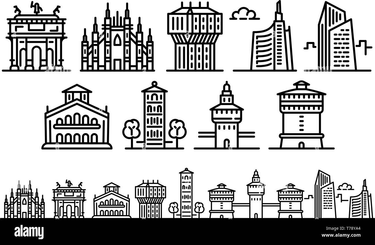 Milan icons set. Outline set of milan vector icons for web design isolated on white background - Stock Vector