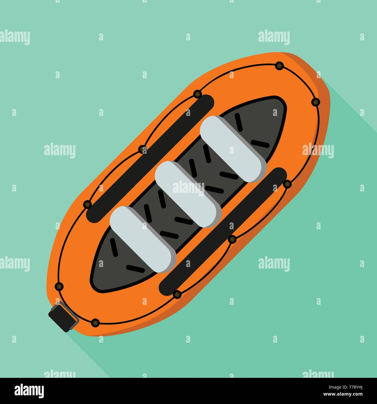 Rubber boat icon. Flat illustration of rubber boat vector icon for web design - Stock Vector