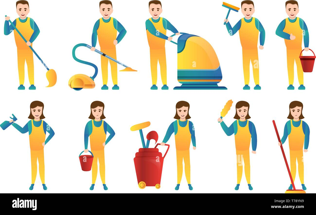 Cleaner equipment icons set. Cartoon set of cleaner equipment vector icons for web design - Stock Vector