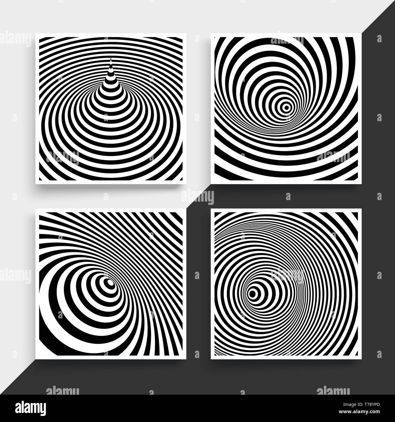 Black and white abstract striped background. Optical Art. Textbook, booklet or notebook mockup. Business brochure. Cover design template. Vector Illus - Stock Vector