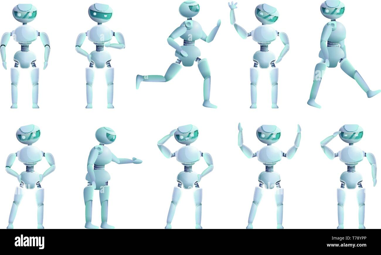 Humanoid icons set. Cartoon set of humanoid vector icons for web design - Stock Image