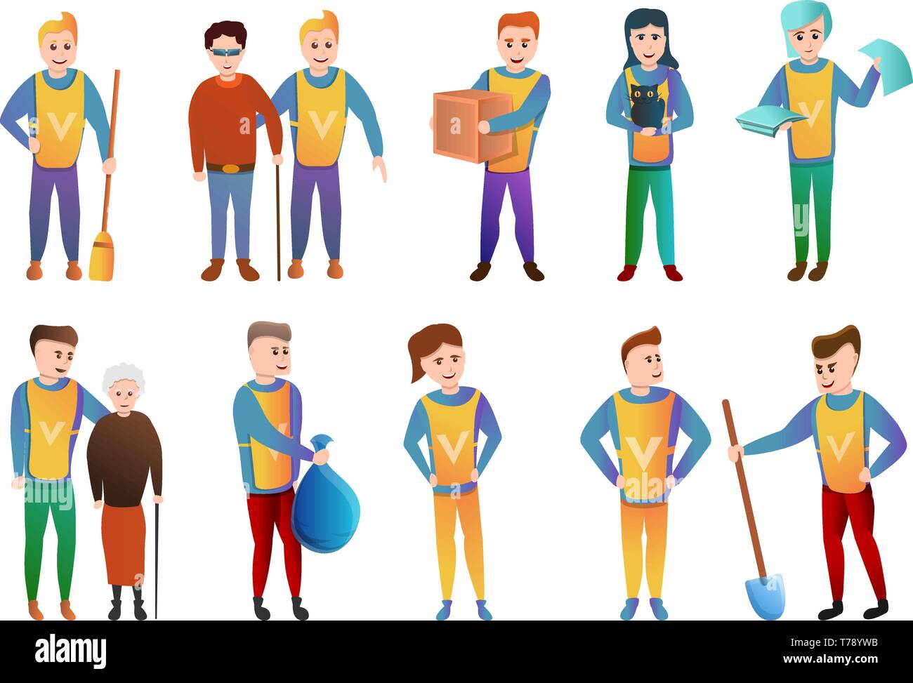 Volunteering icons set. Cartoon set of volunteering vector icons for web design - Stock Vector