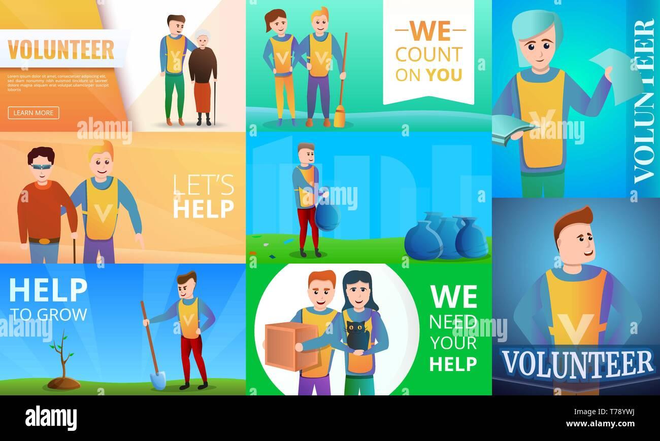 Modern volunteering banner set. Cartoon illustration of modern volunteering vector banner set for web design - Stock Vector