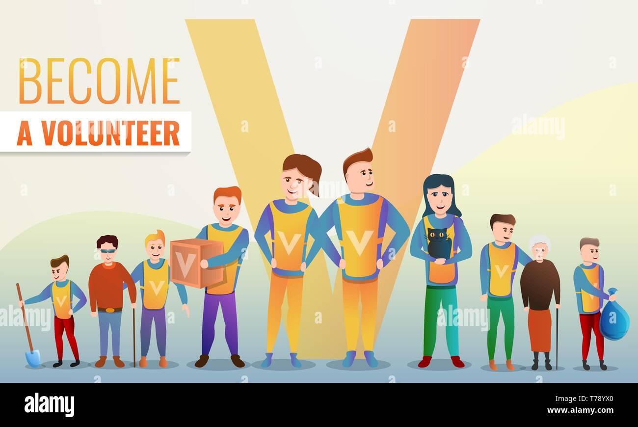 Helping volunteering concept banner. Cartoon illustration of helping volunteering vector concept banner for web design - Stock Vector