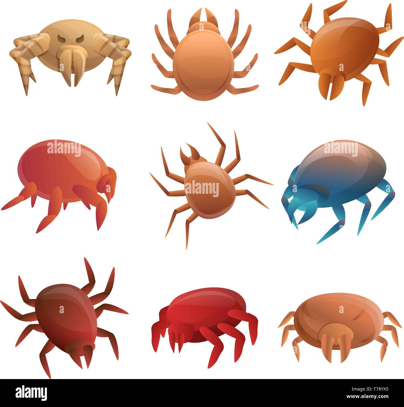 Mite icons set. Cartoon set of mite vector icons for web design Stock Vector