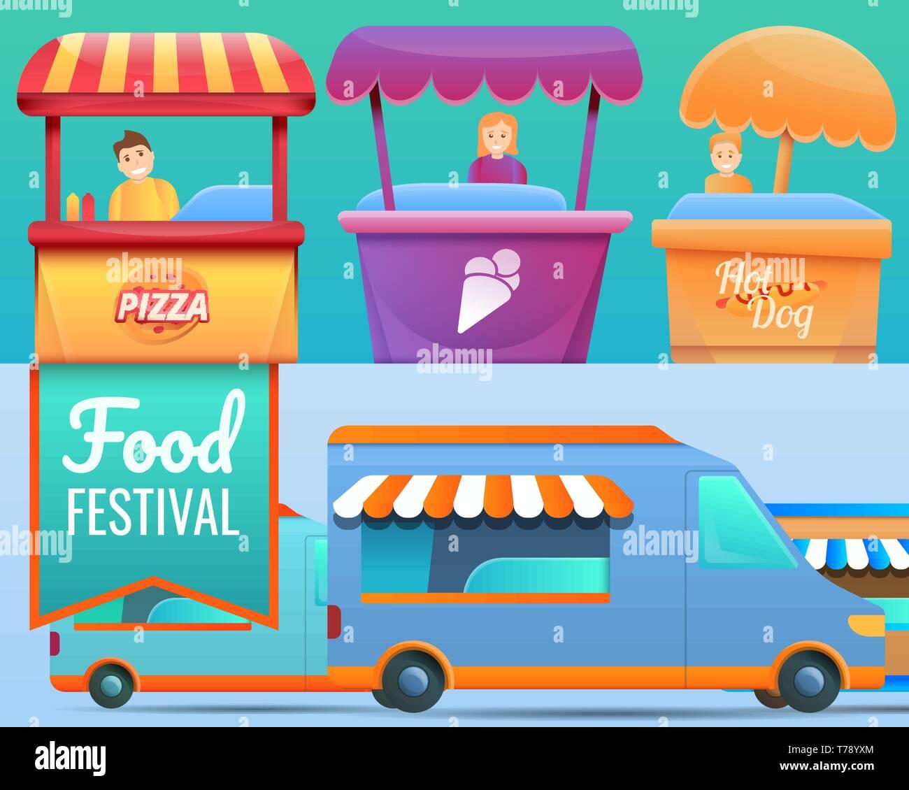 Food festival banner set. Cartoon illustration of food festival vector banner set for web design Stock Vector