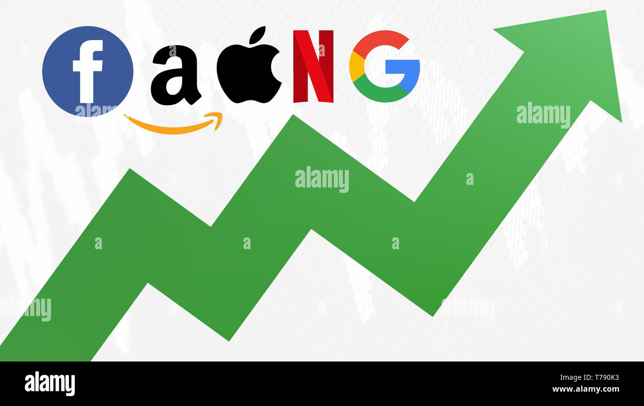 The FAANG stocks are going up. A green zig-zag arrow shows upwards. FAANG is an acronym for the 5 tech stocks, namely Facebook, Apple, Amazon, Netflix... - Stock Image