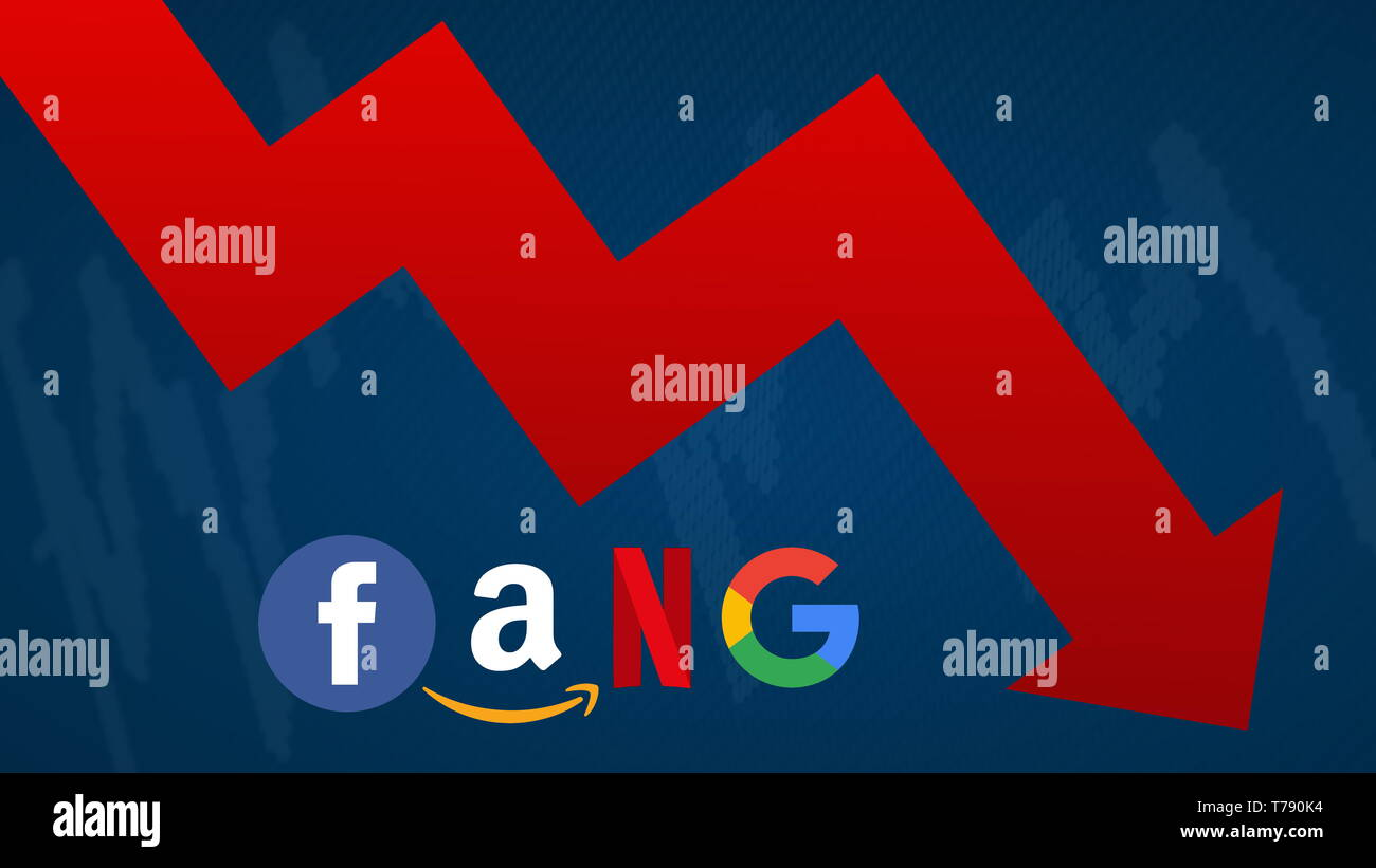 The FANG stocks are going down. A red zig-zag arrow shows downwards. FANG is the original acronym for the 4 tech stocks, namely Facebook, Amazon,... - Stock Image