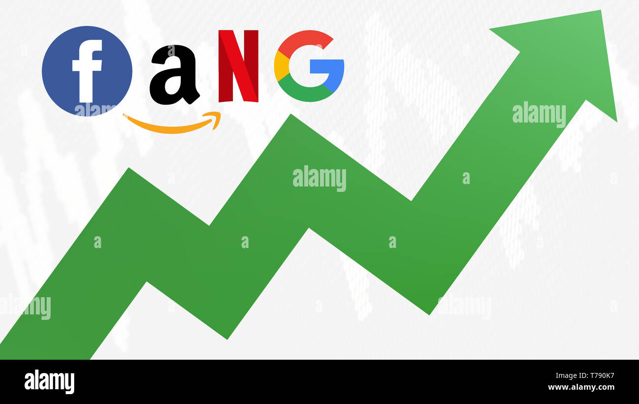 The FANG stocks are going up. A green zig-zag arrow shows upwards. FANG is the original acronym for the 4 tech stocks, namely Facebook, Amazon,... - Stock Image
