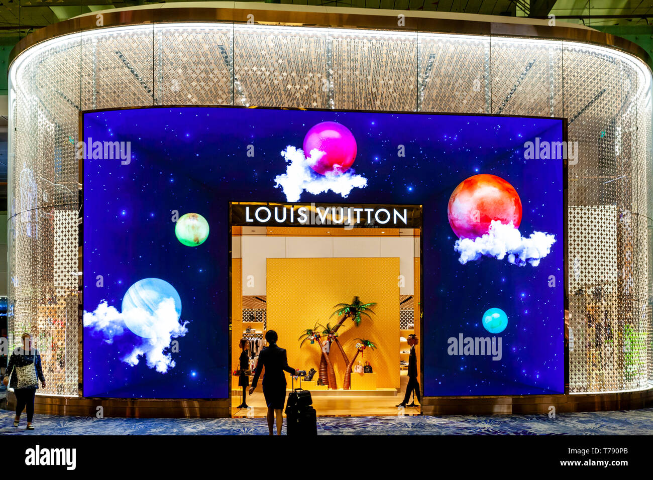 The Louis Vuitton Store, Changi Airport, Singapore, South East Asia - Stock Image