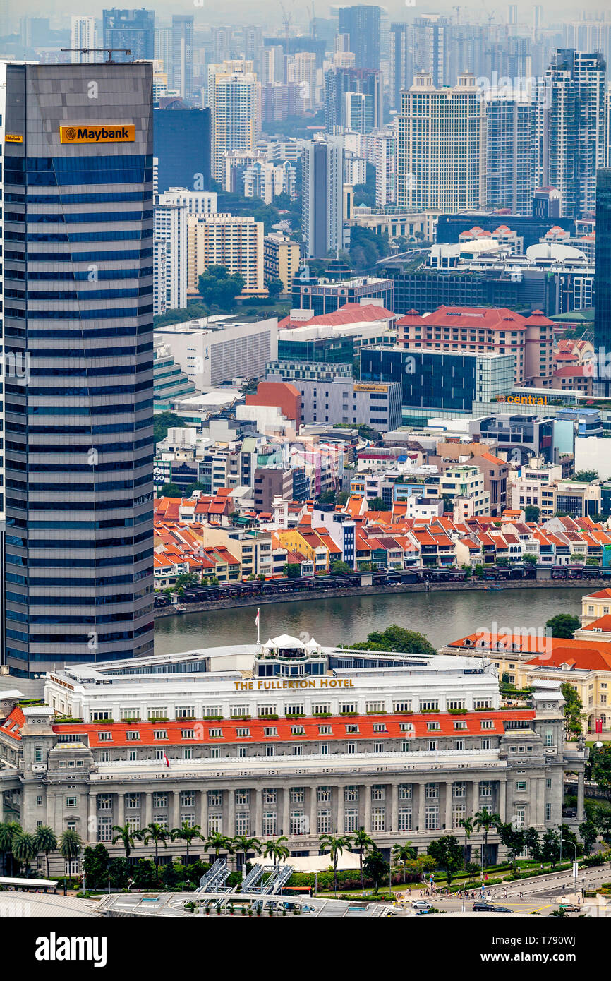 An Aerial View Of The Fullerton Hotel, Boat Quay and The Singapore Skyline, Singapore, South East Asia - Stock Image