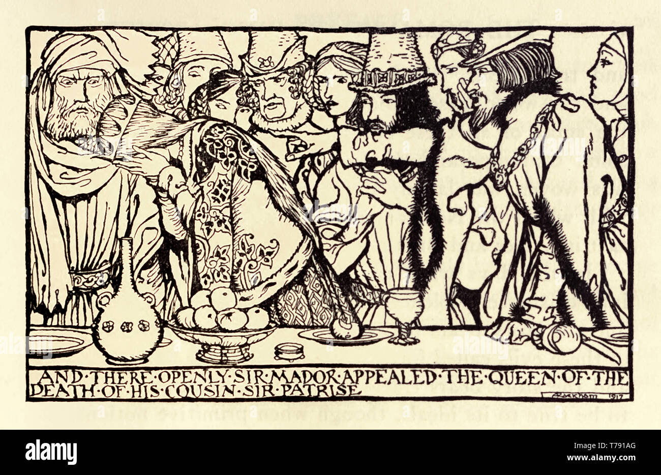 """""""And there openly Sir Mador appealed the Queen of the death of his cousin Sir Patrise"""" illustration by Arthur Rackham (1867-1939) showing Sir Mador accusing Queen Guenevere of poisoning Sir Patrise at a dinner party with her fate to be decided by trial by combat. See description below for more information. - Stock Image"""