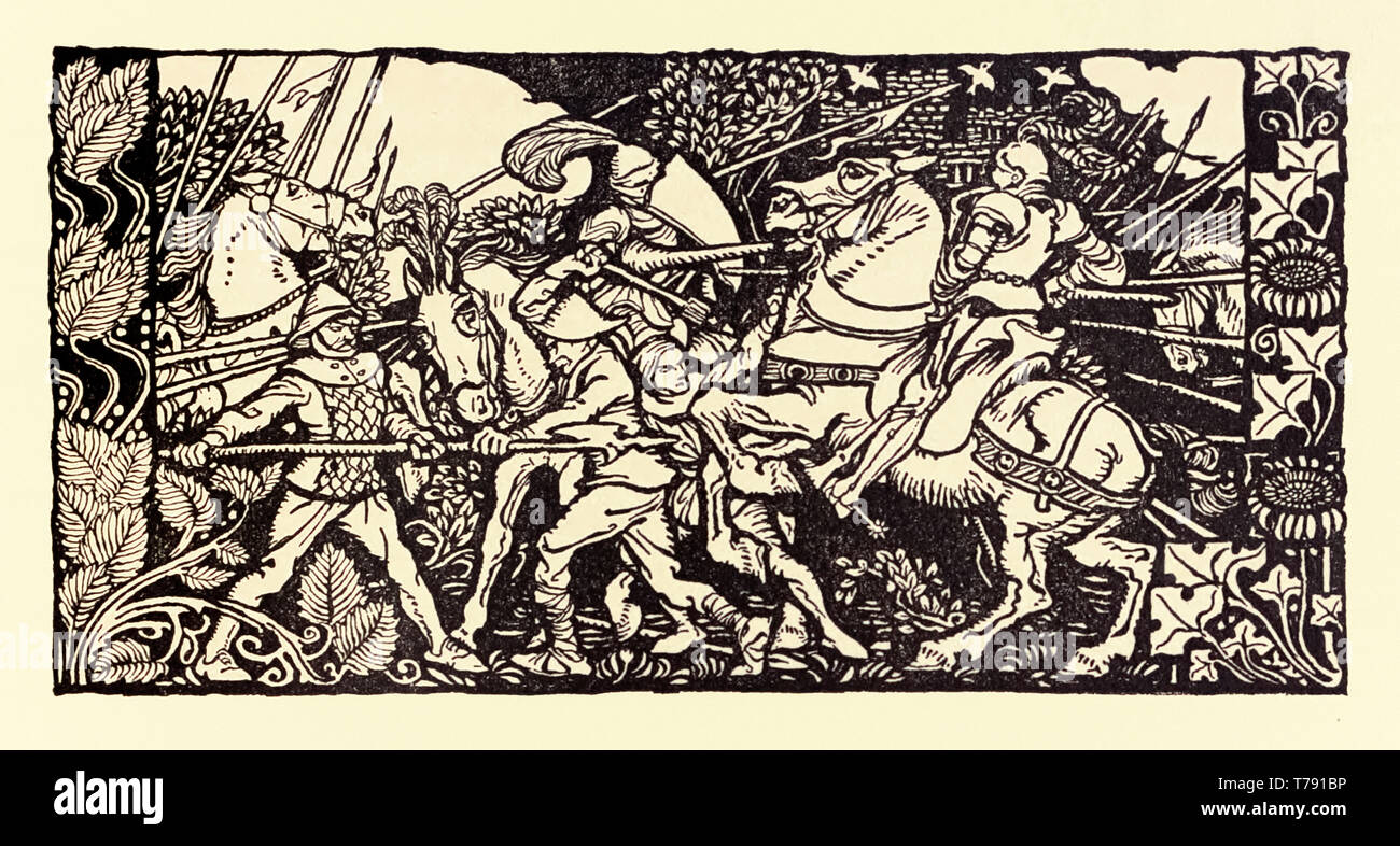 Knights in battle, illustration by Arthur Rackham (1867-1939) showing the Knights on horseback with jousts in battle. See description below for more information. - Stock Image