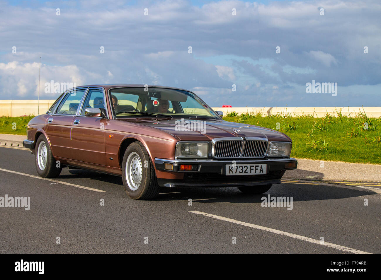 K 732 FFA 992 Jaguar Sovereign 4.0 at Cleveleys Spring Car Show at Jubilee Gardens in 2019. A new location for a Classic Vehicle show from Blackpool Vehicle Preservation Group (BVPG). - Stock Image