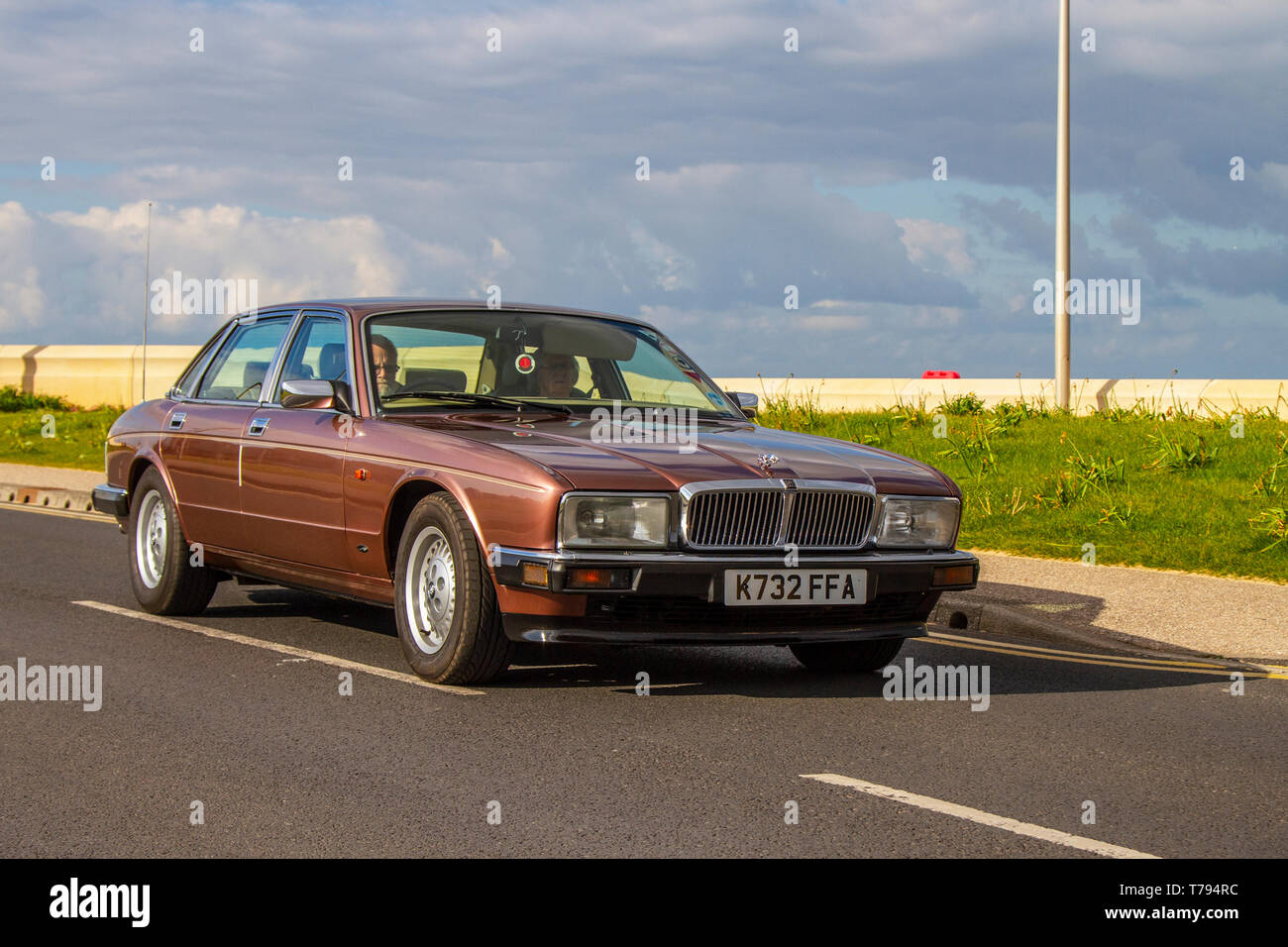 1992 Jaguar Sovereign 4.0 at Cleveleys Spring Car Show at Jubilee Gardens in 2019. A new location for a Classic Vehicle show from Blackpool Vehicle Preservation Group (BVPG). - Stock Image
