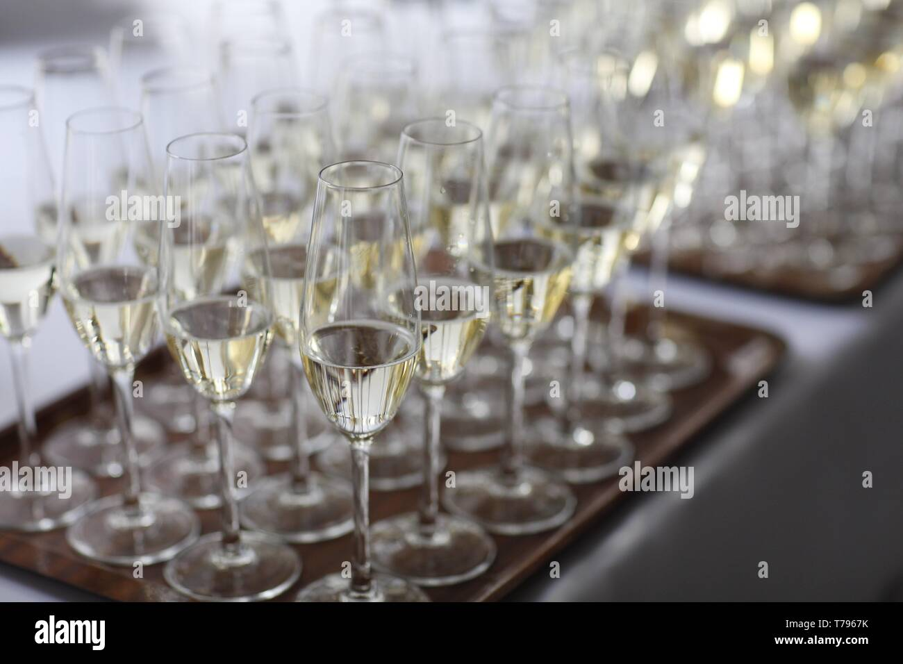 Wedding sparkling wine, champagne detail - traditional toast