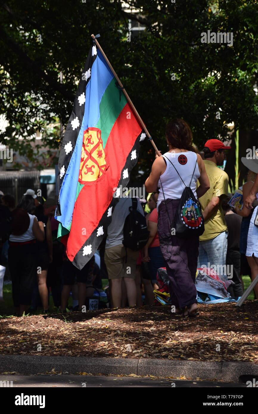 Australian Aboriginal Protest- Sydney - Stock Image