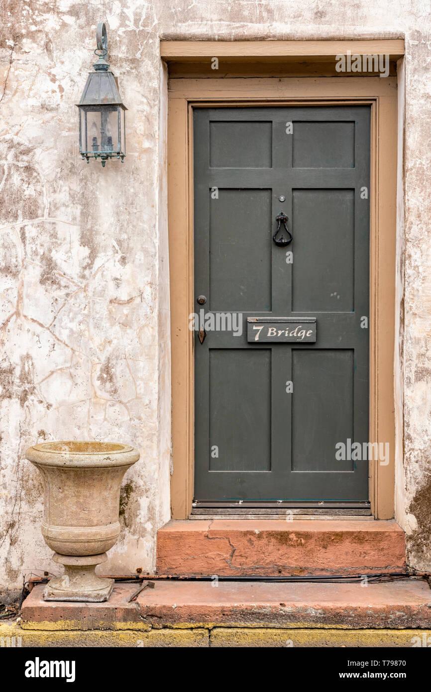 The Sanchez House Door, 7 Bridge Street, St. Augustine, Florida - Stock Image