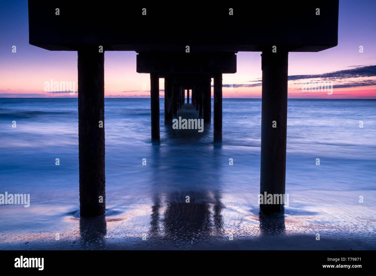 Under the Pier, St. Augustine Beach Pier, Florida - Stock Image