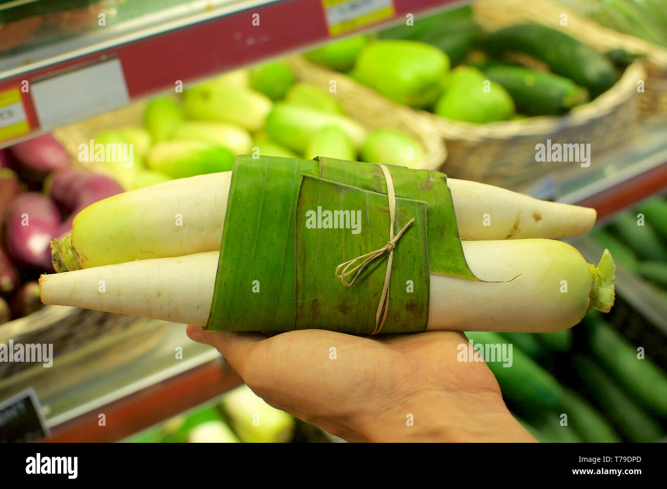 Dikon wrapped in Banana leaf and held in female hands. This is an excellent solution how replace plastic packaging and reduce the waist of it - Bali,  - Stock Image