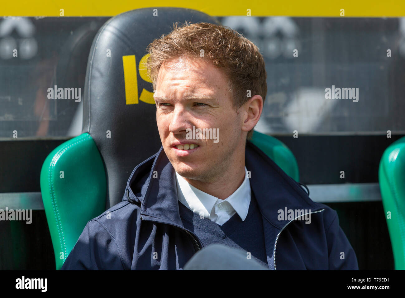 sports, football, Bundesliga, 2018/2019, Borussia Moenchengladbach vs. TSG 1899 Hoffenheim 2-2, Stadium Borussia Park, head coach Julian Nagelsmann (TSG), DFL REGULATIONS PROHIBIT ANY USE OF PHOTOGRAPHS AS IMAGE SEQUENCES AND/OR QUASI-VIDEO - Stock Image