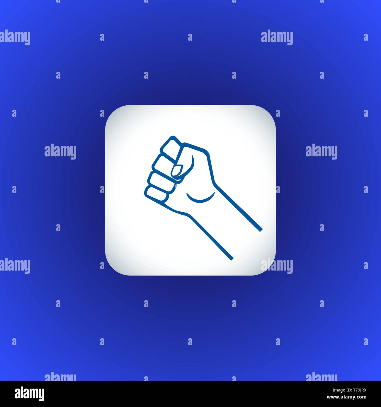 vector symbolic raised clenched power fist male hand protest concept sign illustration light icon poster design isolated on blue background - Stock Vector