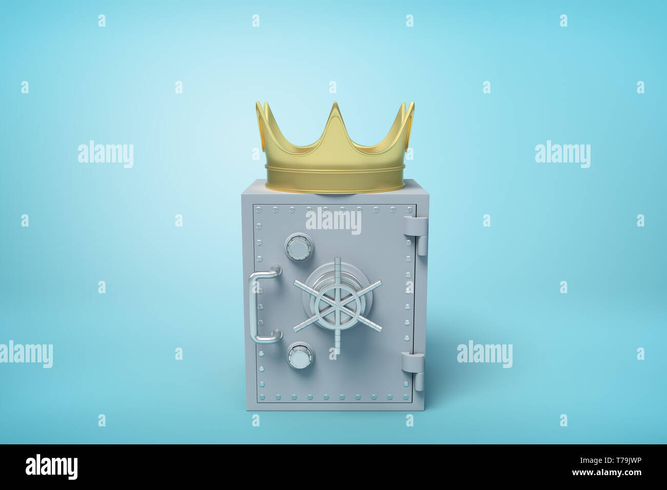 3d front close-up rendering of closed grey metal safe with golden crown on top on light-blue background. Stock Photo