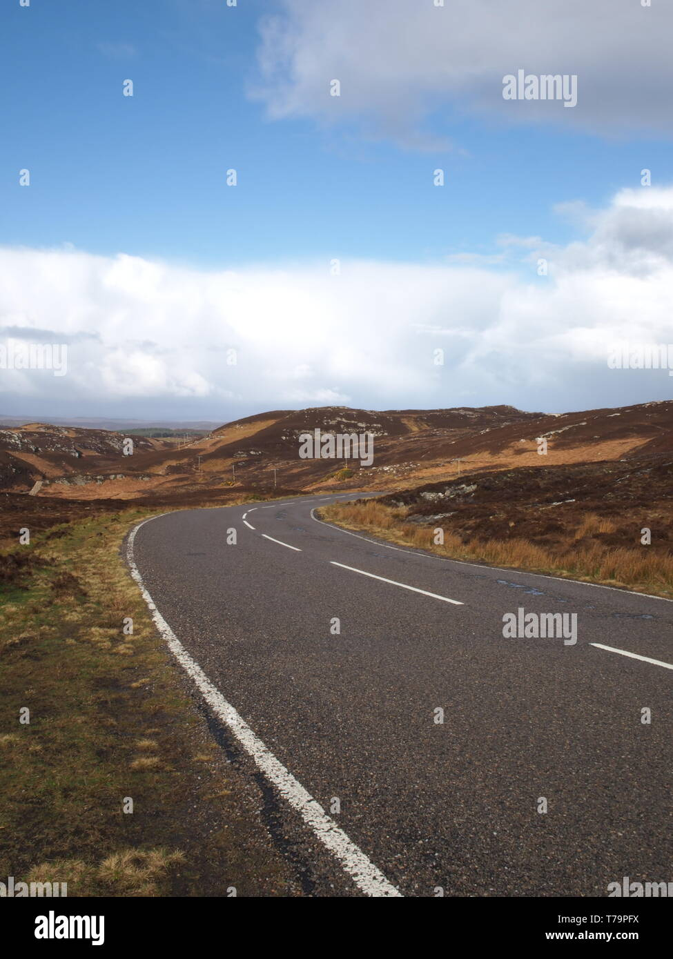 NC500 A836 at Bettyhill viewpoint looking west bound towards Bettyhill in Caithness, Scotland. - Stock Image