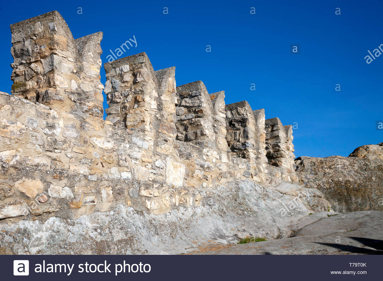 Battlements at the topo of the castle - Stock Image
