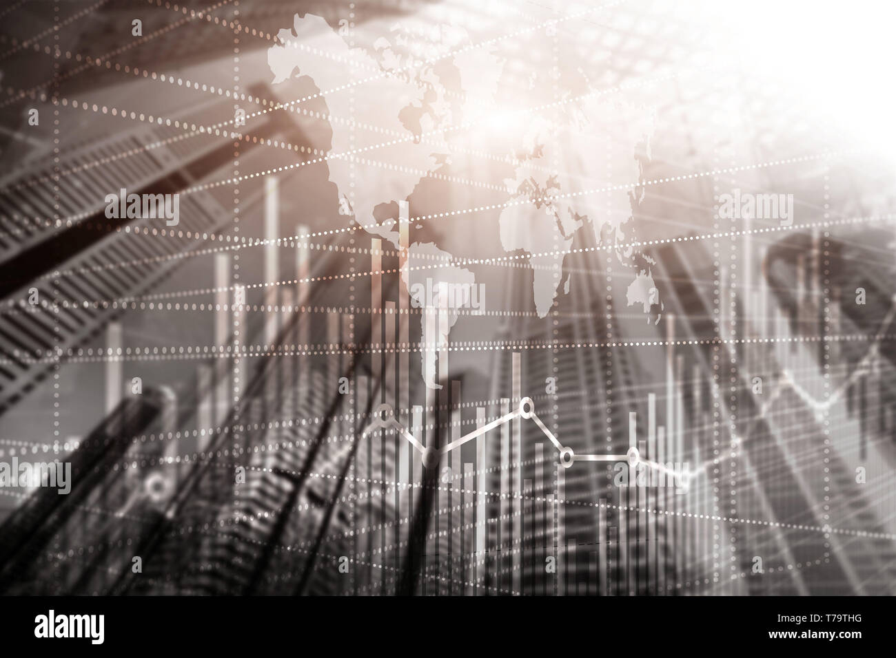 High-rise buildings mixed media double exposure. Modern city. Economic growth graph chart. - Stock Image