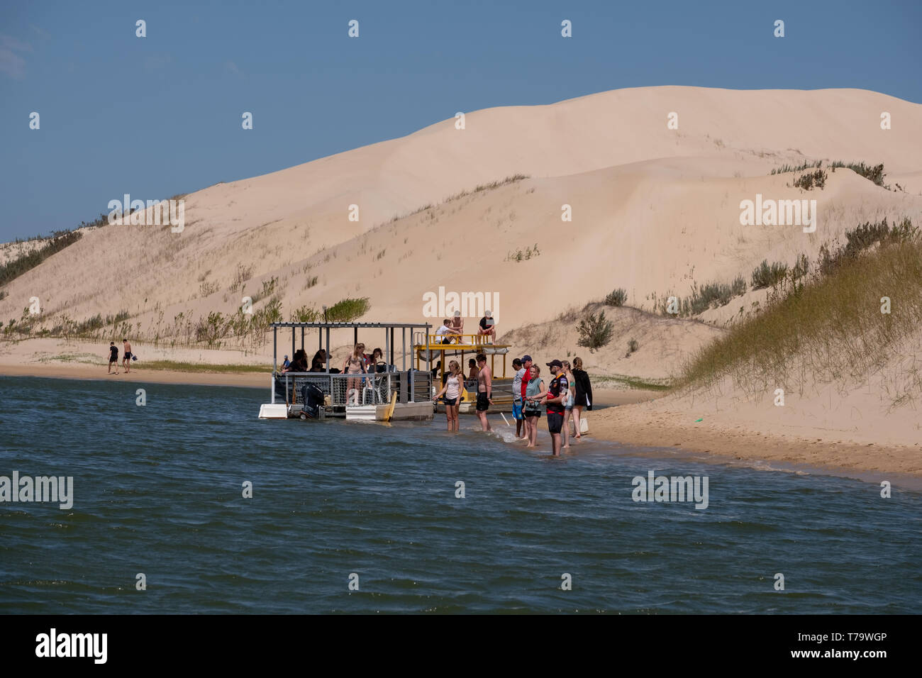 Sundays River ferry moored at The Alexandria coastal dune fields near Addo / Colchester. The dunes were photographed from the Sundays River. - Stock Image