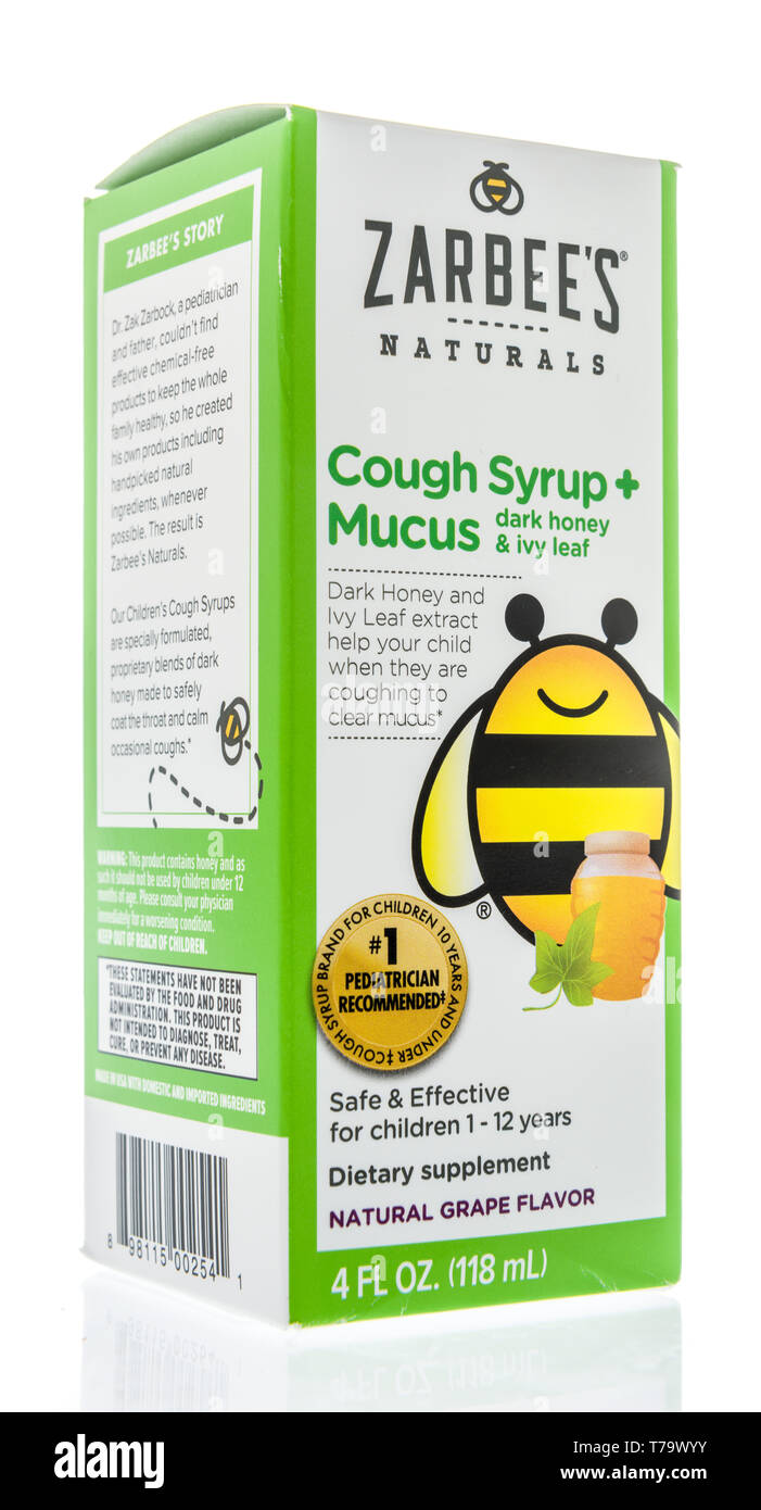 Winneconne, WI - 1 May 2019:  A package of Zarbees naturals cough syrup and mucus medicine on an isolated background. - Stock Image