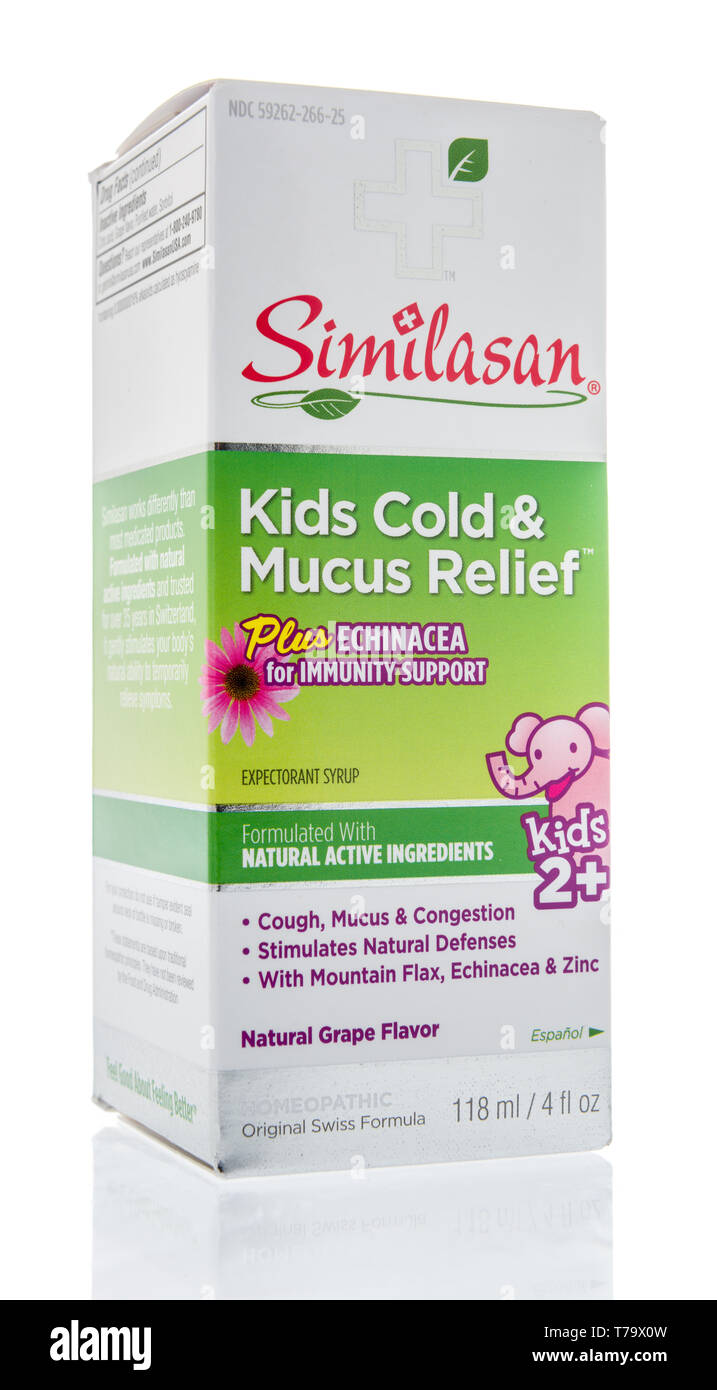 Winneconne, WI - 3 May 2019:  A package of Childrens Similasan cough medicine on an isolated background. - Stock Image