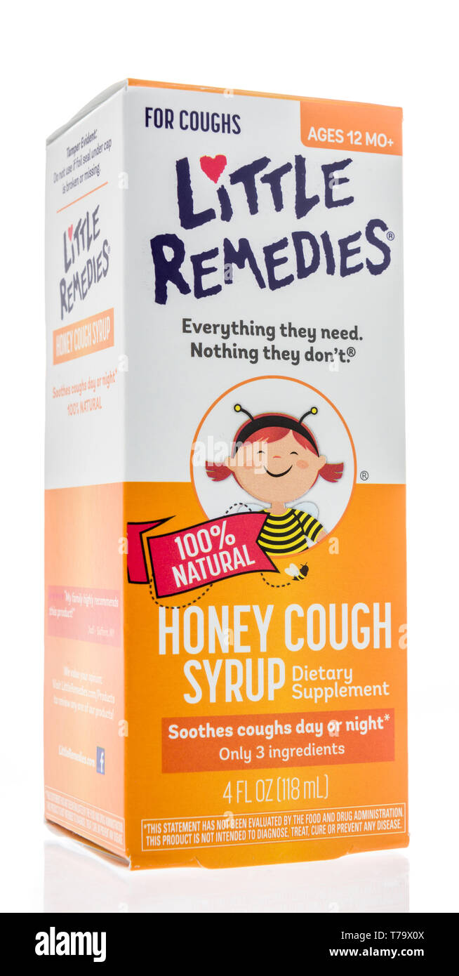 Winneconne, WI - 3 May 2019:  A package of Childrens Little Remedies cough medicine on an isolated background. - Stock Image