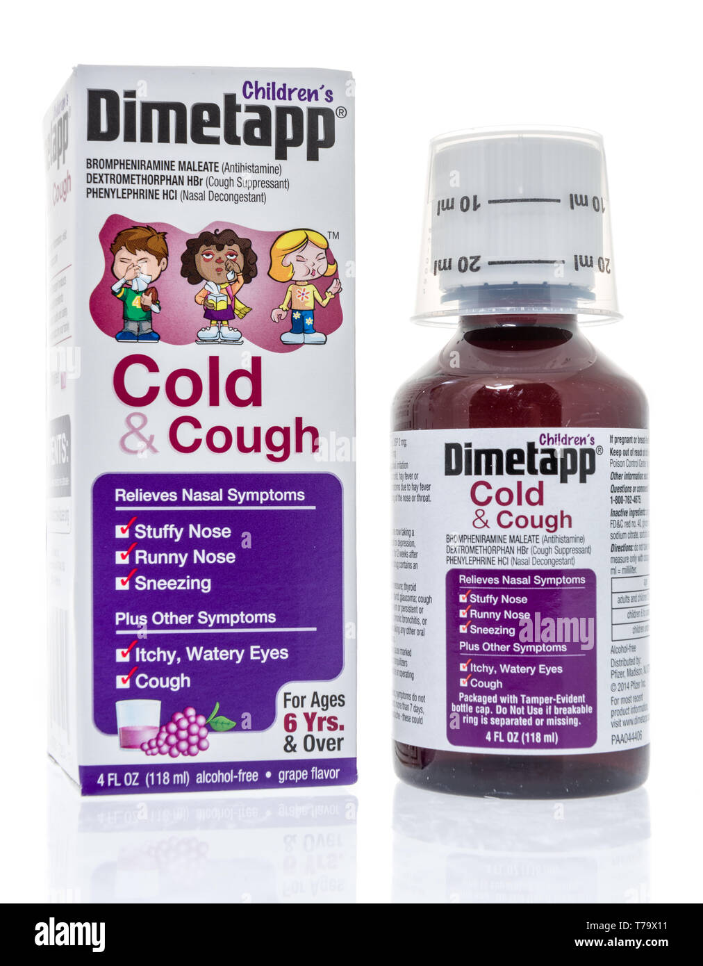 Winneconne, WI - 3 May 2019:  A package of Childrens Dimetapp cough medicine on an isolated background. - Stock Image