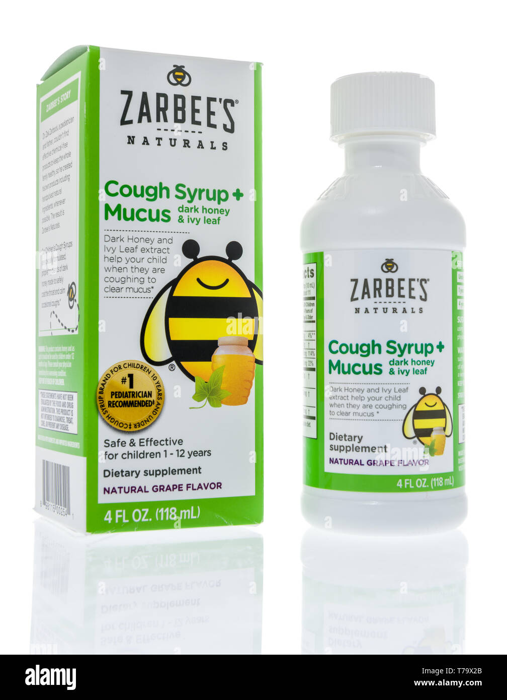 Winneconne, WI - 3 May 2019:  A package of Childrens Zarbees naturals cough medicine on an isolated background. - Stock Image