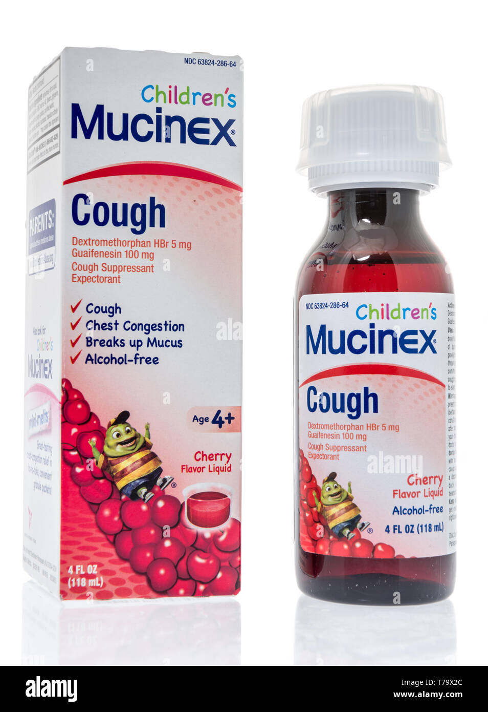 Winneconne, WI - 3 May 2019:  A package of Childrens Mucinex cough medicine on an isolated background. - Stock Image